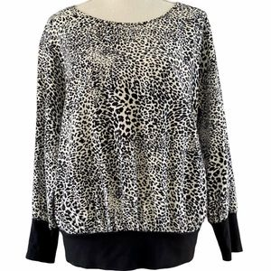 Zara Leopard Relaxed Fit Animal Print Blouse L